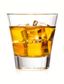 Glass of whiskey with ice, isolated on white background — Stock Photo