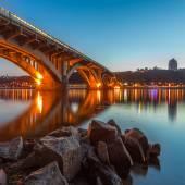 Kyiv Metro bridge in the evening — Stock Photo
