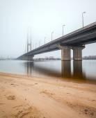 South Bridge in fog. Ukraine. Kiev. — Stock Photo
