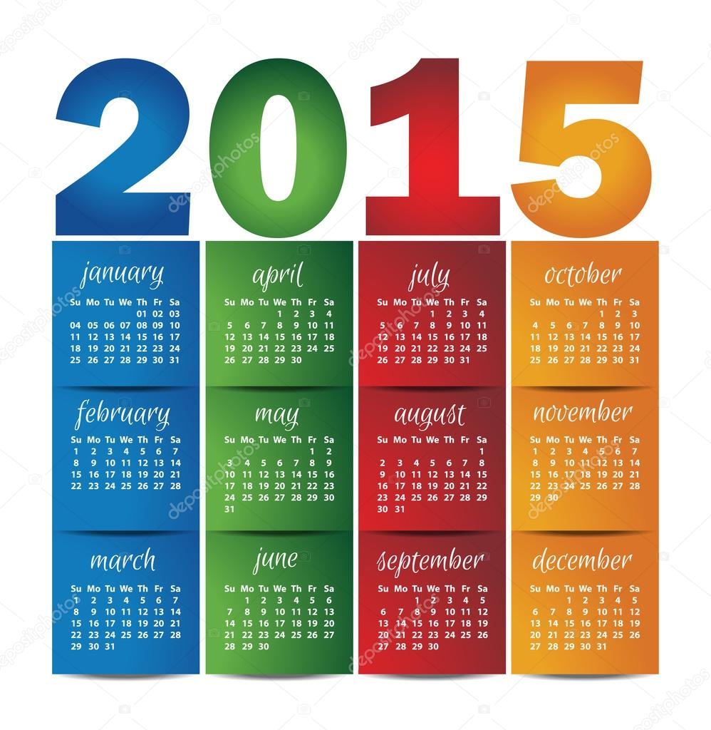 Calendrier vecteur ann e 2015 pour calendrier mural for Calendrier mural 2015