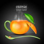 Vector concept orange teapot on black background — Stock Vector