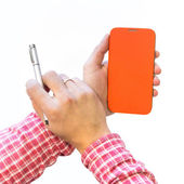 Man hands holding mobile phone with a closed cover — Stock Photo