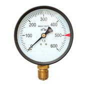 Old circular industrial pressure gauges — Stock Photo