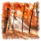 Painting showing autumn city park with sunbeams — Stockfoto