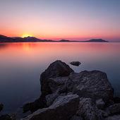 Dawn at Black sea. Morning seascape with mountains. Ukraine. Crimea — Stock Photo