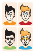 Set of vector illustration cartoon avatar young men portraits — Stock Vector