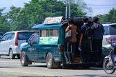 Green mini truck taxi chiangmai — Stock Photo