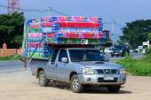 CHIANGMAI, THAILAND -OCTOBER 18 2014: An unidentified Truck for Mattress sale.  Photo at road no.121 about 8 km from downtown Chiangmai, thailand. — Stock Photo