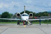 Captain of Pbair checking Aircraft before flight — Stock Photo