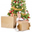 Cute boy opening christmas gift  box — Stock Photo #56138265