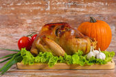 Fried turkey with vegetables — Stock Photo