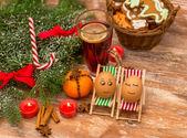 Funny eggs, Christmas, mandarin, glogg and candles — Stock Photo