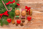 Funny eggs, Christmas, mandarin, gift and candles — Stock Photo