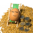 Funny egg and euro coins with seeds — Stock Photo #67650643