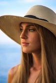 Portrait of  woman  with a warmth light — Stock Photo