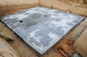 Foundation plate of a new building — Stock Photo