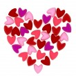Valentine heart made of many small pink velvet hearts on white background — 图库照片 #62205173