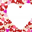 Valentine heart made of many small pink velvet hearts on white background — 图库照片 #62205205