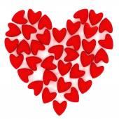 Valentine heart made of many small pink velvet hearts on white background — ストック写真