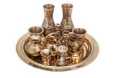 Set of decorative souvenirs from copper and bronze on a tray  — Стоковое фото