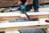 Carpentry electric saw for wood — Stock Photo