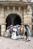 Ladies, gentlemen of the 18th century — Stock Photo