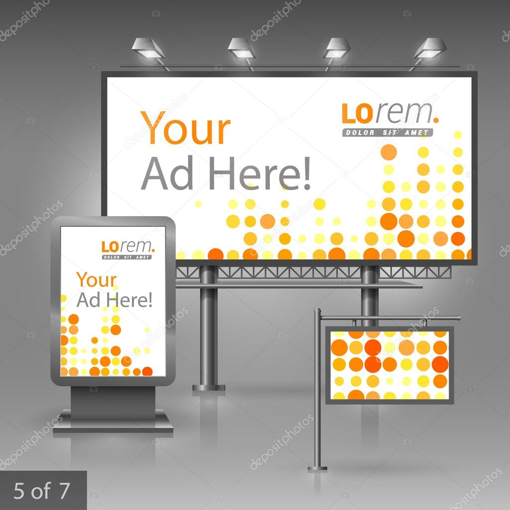 corporate identity editable corporate identity template outdoor editable corporate identity template digital outdoor advertising design for company red and yellow round shapes elements of stationery
