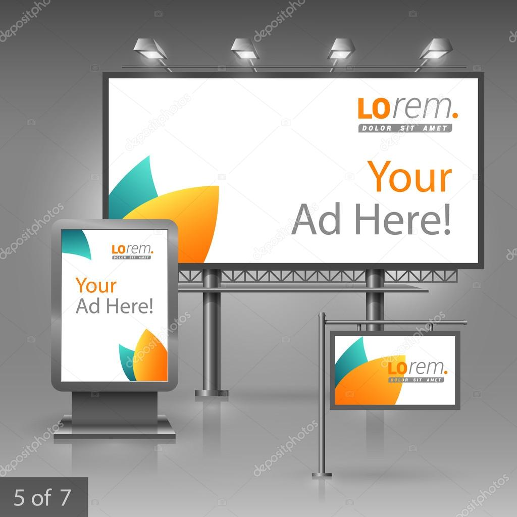 corporate identity editable corporate identity template outdoor editable corporate identity template clean floral outdoor advertising design for company blue and orange leaves elements of stationery