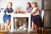Senior women and cute dog, at home — Stock Photo