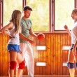 Coach and students in training volleyball — Stock Photo #57474437