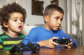 Two Friends Playing Video Game — Stock Photo