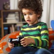 Постер, плакат: Young boy playing video game at home