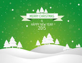 Christmas landscape background with snow and tree, wish card — Stok Vektör