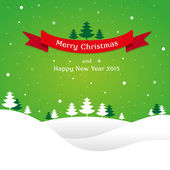 Christmas landscape background with snow and tree, wish card — Vector de stock