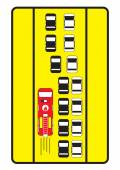 Traffic sign advise cars to give left way to fire engine.  — Stock Vector