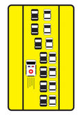 Traffic sign advise cars to give left way to ambulance. — Stock Vector