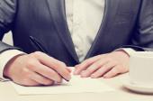 Businessman Hands Writing — Stock Photo