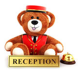 3d teddy bear bellboy — Stock Photo