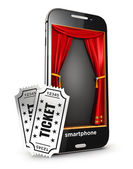 3d smartphone stage and tickets — Stock Photo