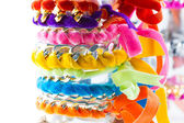Velvet and chain bracelets — Stock Photo