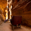 Cart and tourists in the siq at Petra, Jordan — Stock Photo #55151141