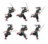 Ninja Running Game Sprite — Stock Vector