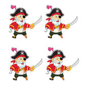Old Pirate Idle Sprite — Stock Vector