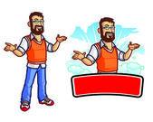 Bearded Geek Mascot — Stock Vector
