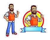 Computer Programmer Geek Mascot — Stock Vector