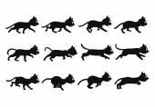 Black Cat Transition from Walkingto Running Sprite — Stock Vector