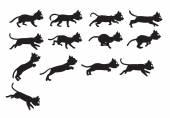Black Cat Jumping Sprite — Stock Vector