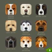 Dogs faces icons — Stock Vector