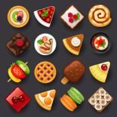 Dessert ikonuppsättning — Stockvektor