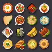 Conjunto de ícones de pratos — Vetor de Stock